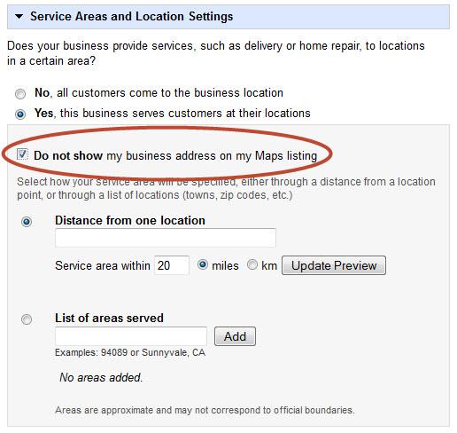 google plus service areas
