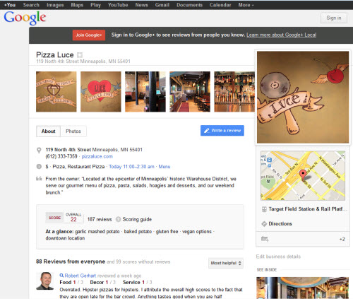 google plus local page