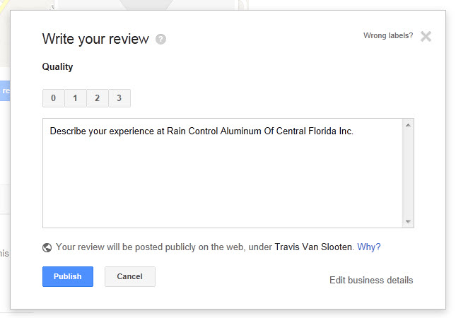 write a review on a business